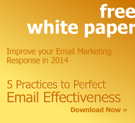 Free White Paper: Improve your Email Marketing Response in 2014. 5 Practices to Perfect Email Effectiveness. Download now »