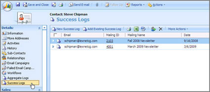 MS CRM Email Marketing Screen Shot