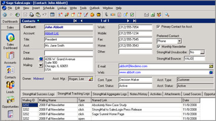 SalesLogix StrongView Tracking Logs