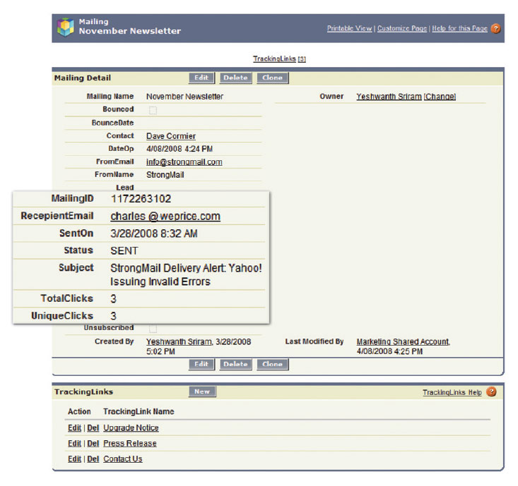 Detailed mailing information and tracking results appear in Salesforce.com